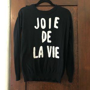 """Black """"Joie de la vie"""" sweater size XS"""